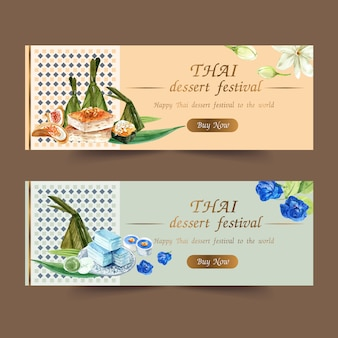 Thai sweet banner design with layered jelly, pudding watercolor illustration.
