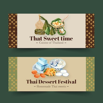Thai sweet banner design with mini castella, golden threads watercolor illustration.