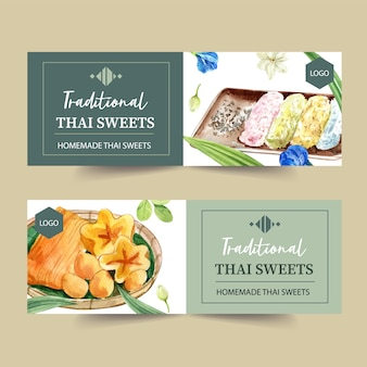Thai sweet banner design with pea flowers, golden threads watercolor illustration.