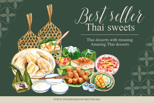 Thai sweet banner template with imitation fruits illustration watercolor.