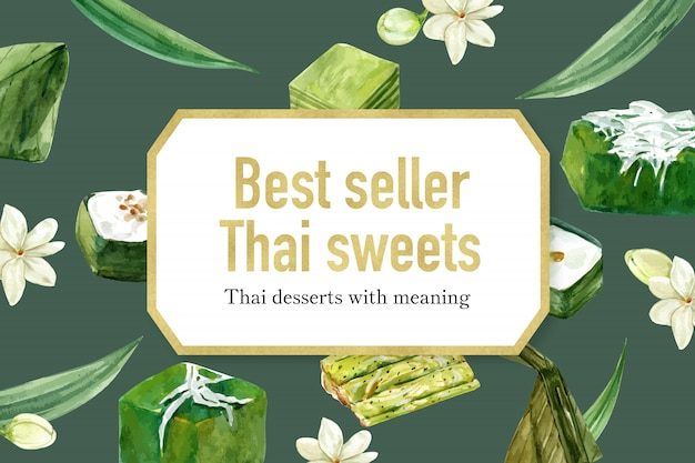 Thai sweet banner template with various thai puddings illustration watercolor.