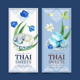 Thai sweet banner with layered jelly, flowers watercolor illustration.