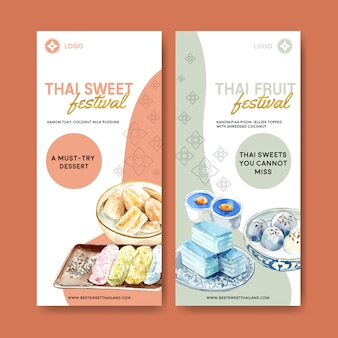 Thai sweet banner with pudding, layered jelly watercolor illustration.