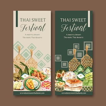 Thai sweet banner with sticky rice, mango, pudding watercolor illustration.