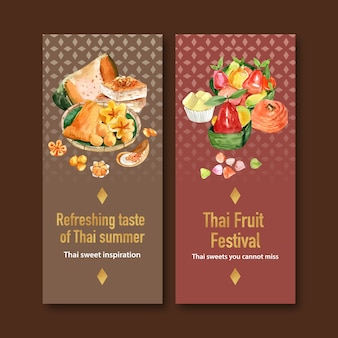 Thai sweet banner with thai custard, imitation fruits watercolor illustration.