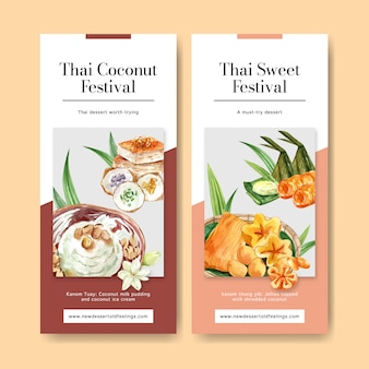 Thai sweet banner with thai custard, pudding watercolor illustration.