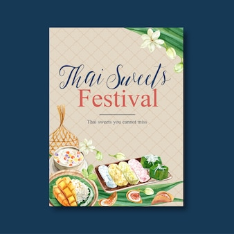 Thai sweet poster design with jasmine, pudding, sticky rice, illustration watercolor.