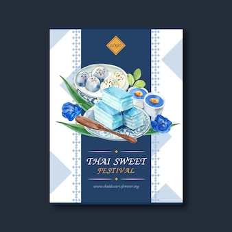 Thai sweet poster design with layered jelly, pudding illustration watercolor.