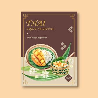 Thai sweet poster design with sticky rice, mango, jasmine illustration watercolor.