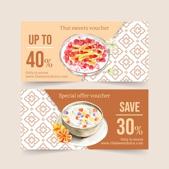 Thai sweet voucher design with coconut milk, water chestnut illustration watercolor.