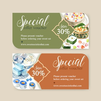 Thai sweet voucher design with pudding, layered jelly illustration watercolor.