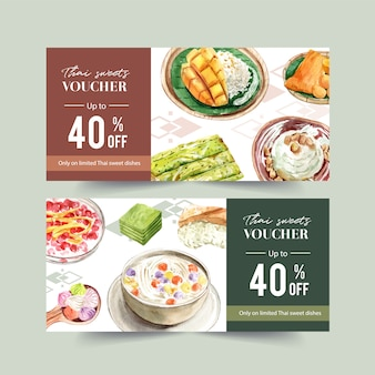 Thai sweet voucher design with sticky rice, mango, ice cream illustration watercolor.