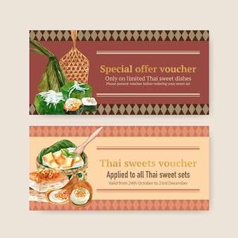 Thai sweet voucher design with thai custard, pudding illustration watercolor.