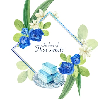 Thai sweet wreath with pea flowers, jasmine, layered jelly illustration watercolor.