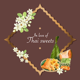 Thai sweet wreath with steamed pumpkin, egg custard illustration watercolor.