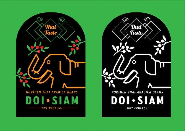 Thai taste mountain coffee label design