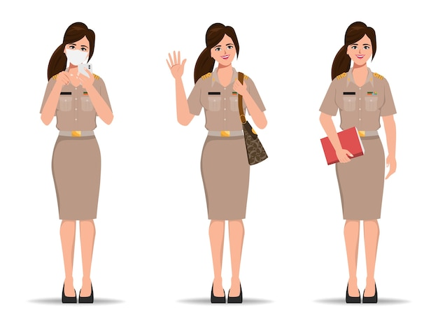 방콕 태국 제복을 입은 태국 교사. 새로운 정상적인 라이프 스타일 정부 캐릭터.