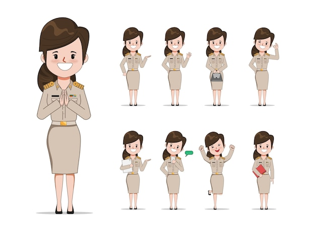 Thai teacher in uniform set pose. young government with job character.