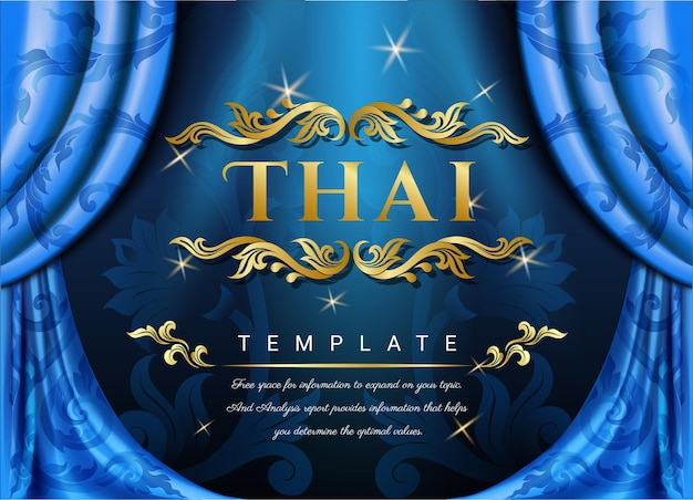 Тайский шаблон с синими шторами