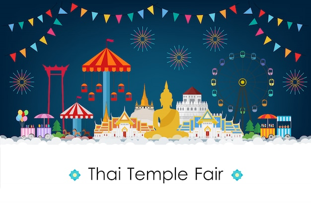 Thai temple fair at night