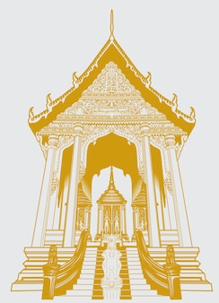 Thai temple gold color for tshirt