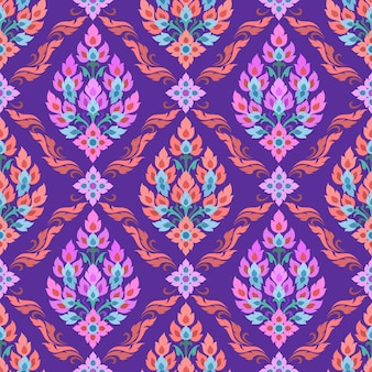 Thai tradition art in purple color seamless pattern.