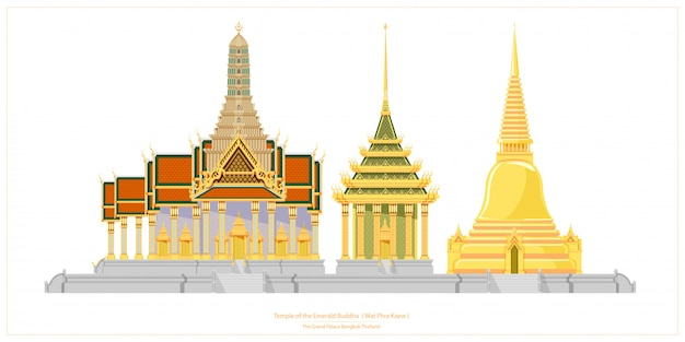 Thai traditional architecture. temple of the emerald buddha or wat phra kaew.
