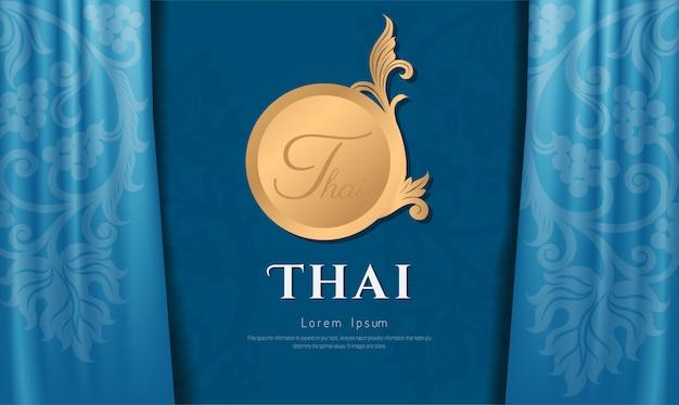 Тайский традиционный художественный дизайн на ткани синего цвета