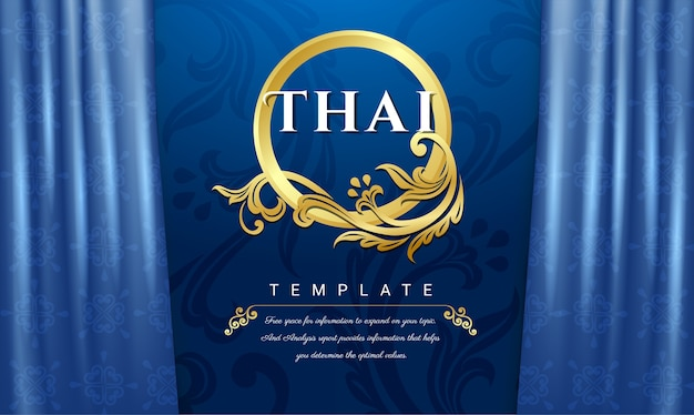 Thai traditional concept, blue curtains background.