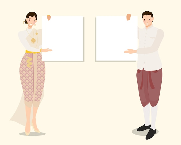 Thai traditional couple holding empty blank white board for text