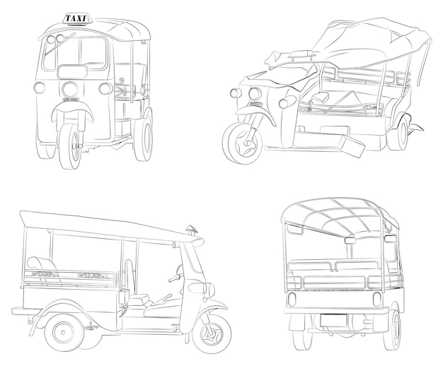 Thai tricycles cartoon coloring page for kids