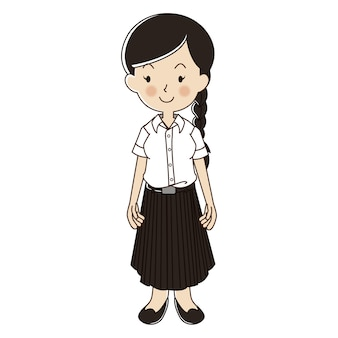 Thai woman in university student uniform