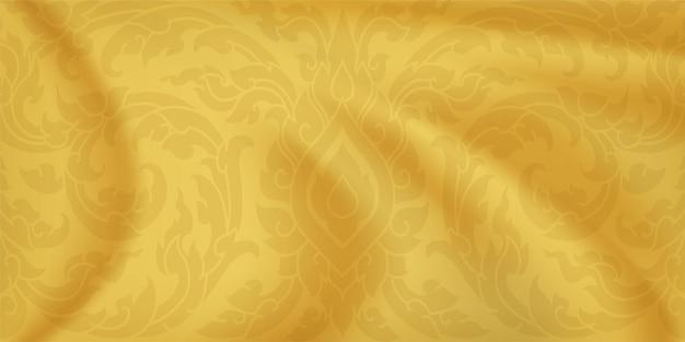 Thaiiパターン。黄金色のシルクの背景。ゴールドサテンの波。ベクター
