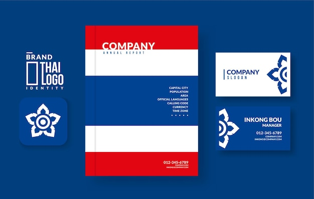 Thailand annual report book cover and business card design