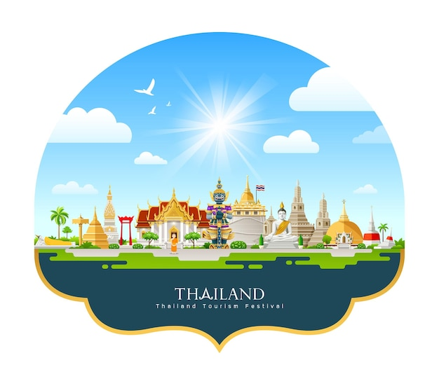Thailand architecture tourism festival design on cloud and sky on blue background
