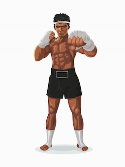 Thailand boxer in the fight pose, illustration.