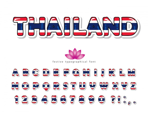 Thailand cartoon font. thai national flag colors.