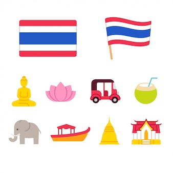 Thailand cartoon icons set
