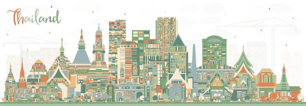 色の建物とタイの街のスカイライン。ベクトルイラスト。歴史的建造物と観光の概念。ランドマークのあるタイの街並み。