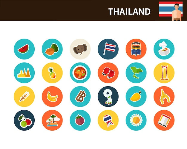 Thailand concept flat icons