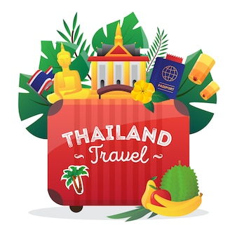 Thailand cultural symbols composition icon for travelers with national flag