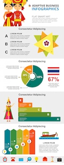 Thailand culture and analysis concept infographic charts set