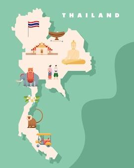 아이콘이 있는 태국 문화 지도