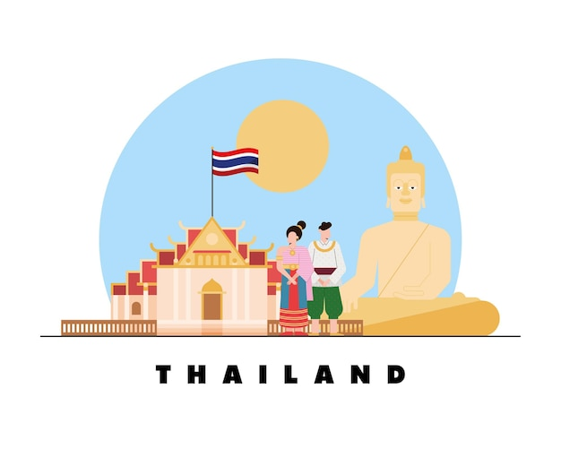 아이콘이 있는 태국 문화 현장
