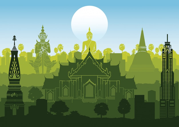 Thailand famous landmark silhouette style with row design on sunset time,green and blue color