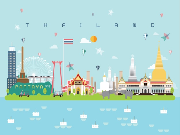 Thailand famous landmarks infographic