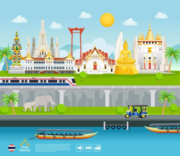 Thailand famous landmarks travel banner beautiful places flat style background