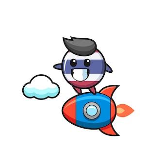 ロケットに乗るタイ国旗バッジマスコットキャラクター、tシャツ、ステッカー、ロゴ要素のかわいいスタイルのデザイン