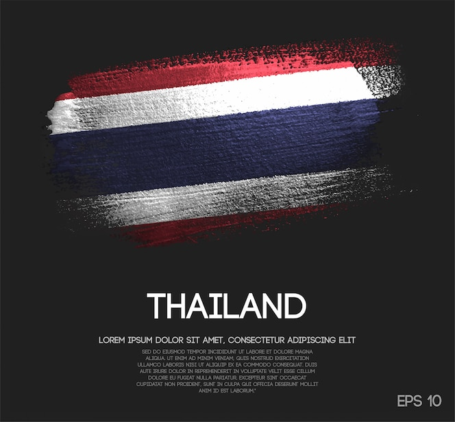 thailand flag made of glitter sparkle brush paint