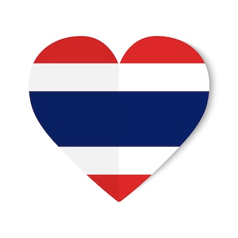 Thailand flag with origami style on heart background